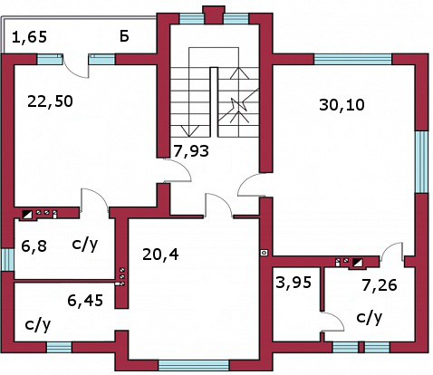 Планировка Пятикомнатная квартира (Евро) площадью 220 кв.м в КП «Прайд»